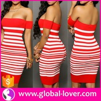 Hot sale red striped off shoulder tight bodycon knee-high sexy ladies without dress