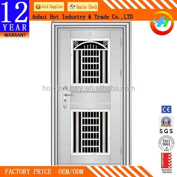 Professional customized single leaf galvanized steel sheet door/stainless steel security storm doors