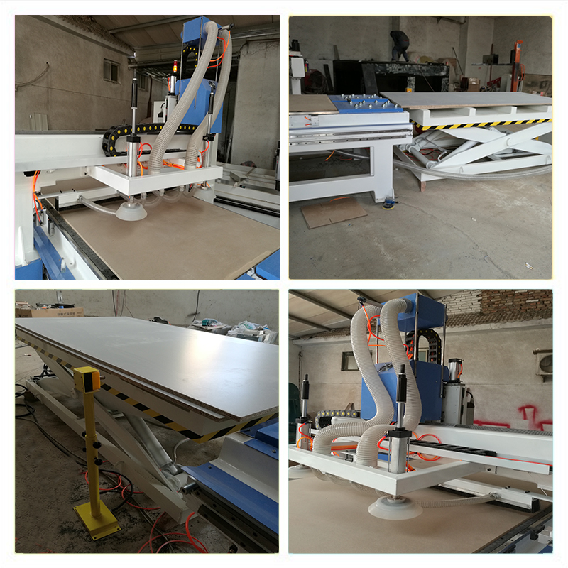 Wood furniture automatic cnc router production line , cnc wardrobe making machine