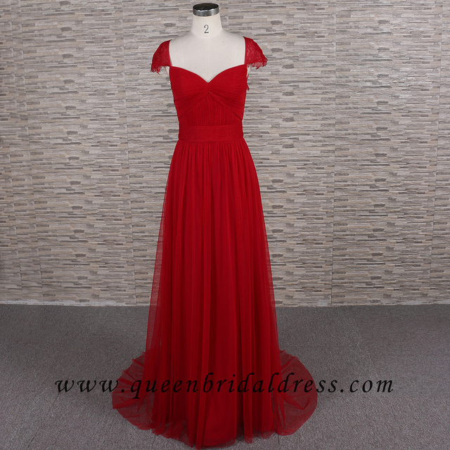 Sumptuous cap sleeves pleats Red bridesmaid dresses