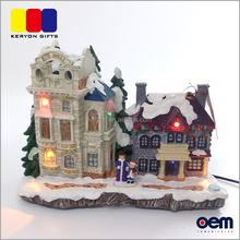 Wholesale Decorative Lighted Xmas Miniature Resin Christmas Village Houses