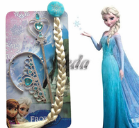 Hot Product for kids Frozen cosplay costume accessories Elsa wig + crown + wand