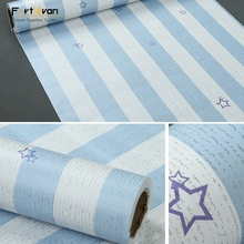 Blue/pink star striped adhesive embossed pvc wallpaper