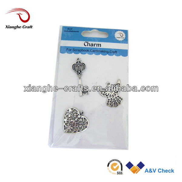 cheap Silver key charms pendant heart charm pendant for jewelry making