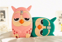 Wholesale 3D cartoon owl silicon rubber soft case for samsung note 2 note 3 s3 s4