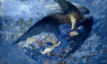Edward Robert Hughes-Night With Her Train Of Stars Blue Angel Painting On Canvas