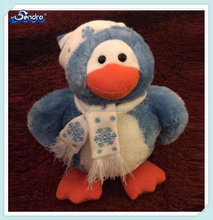 Christmas new design soft stuffed Animal Blue Penguin toy <strong>Plush</strong> with Hat and Scarf