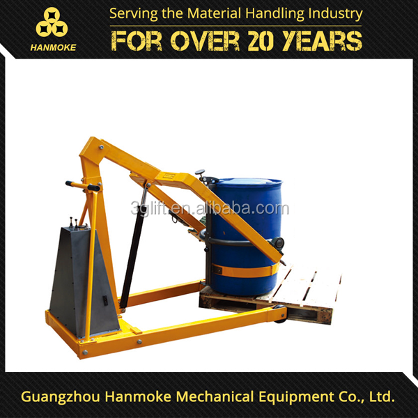 Guangzhou hanmoke brand oil drum handling equipment 300kg capacity 2090 pouring height power drum lifter drum tilting equipment