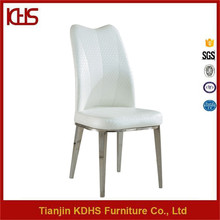 Restaurant furniture white faux leather high back dining chair