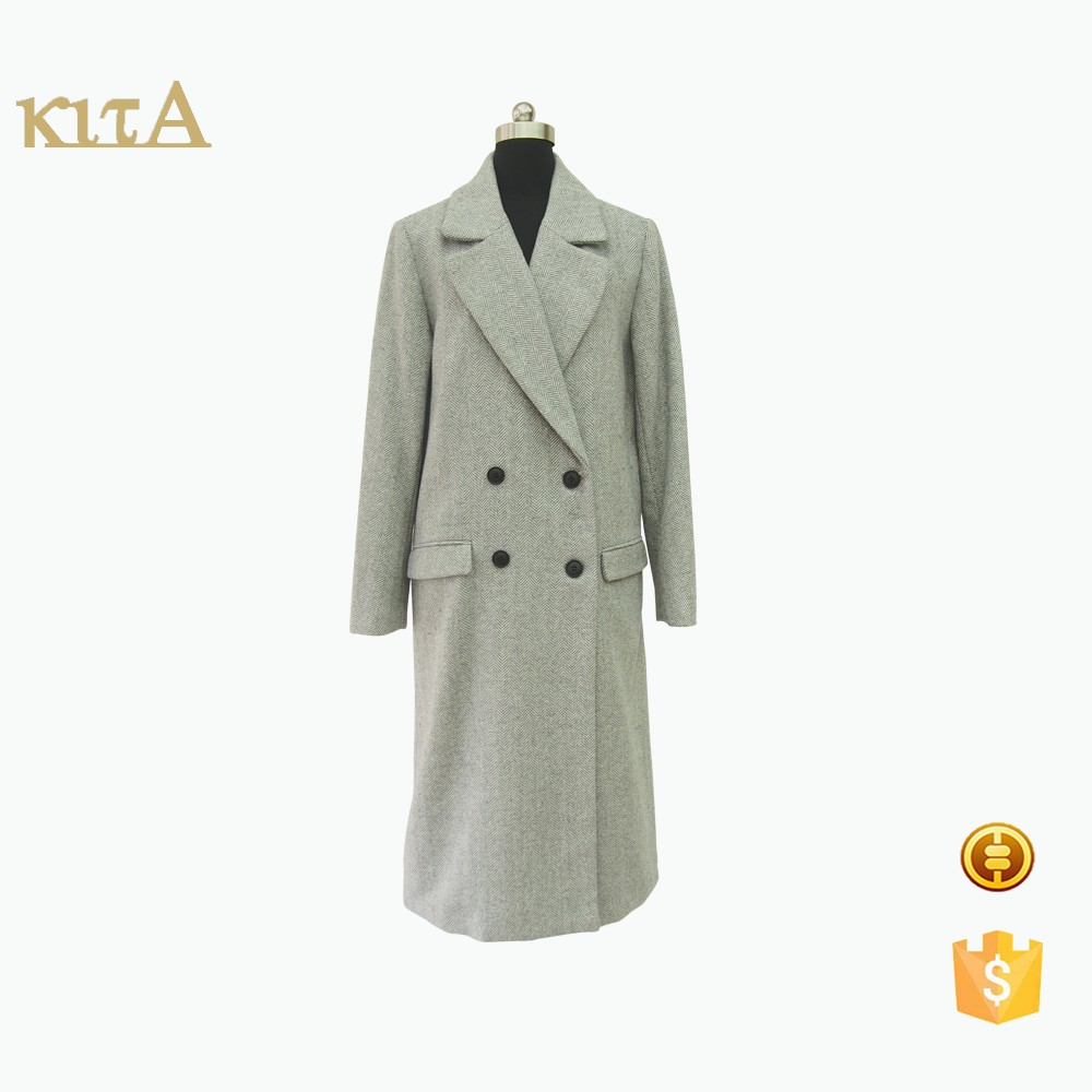 Women wool blend double-breasted long outwear coat