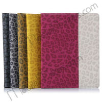 Stylish Leopard Texture Folio Flip Leather Case Cover for iPad2/iPad3/iPad4 with Foldable Stand, for ipad covers wholesale