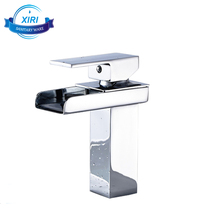 Chrome Finish Waterfall Type Bathroom Faucets Economic Deck Mounted Basin Mixer Tap XR908