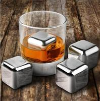 Stainless Steel Chilling Stones and Tong set Whisky Rocks Drinks Cooler Ice Cubes