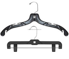 Black plastic dress clothes hangers skirt pant hangers with Swivel Hook Hanger