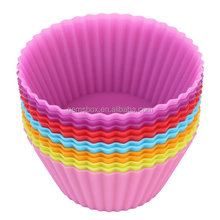 12 Pcs Silicone Cupcake Mold Non stick Easy Clean Baking Cup