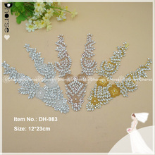 New shinning luxury multi-color crystal beaded african applique for wedding dress