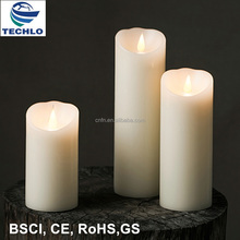 Techlong 2017 Hot Selling A Set of 3pcs Candles 3D Moving Wick LED Flameless Candle Light Real Wax