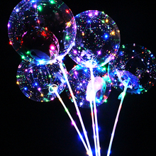 helium stuffing new year Christmas wedding party bubble balloons round confetti feather led light bobo balloons