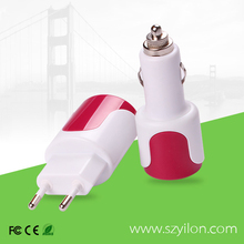 us plug eu plug wall+car charger adapter 3.1a double usb car charger