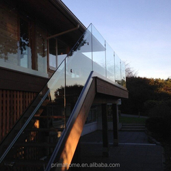 High quality prefab fence/terrace/porch frameless aluminum tempered glass railings designs