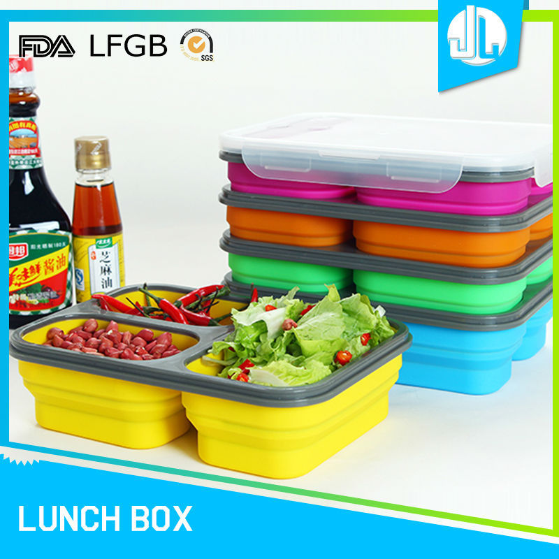 Portable cheap colorful silicone 3 compartment bento lunch box leakproof