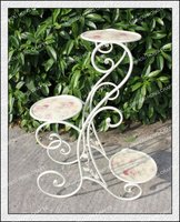 H70cm Wholesale folding outdoor french design white rose flower stand/wrought iron plant stand/3 tier metal flower pot stand