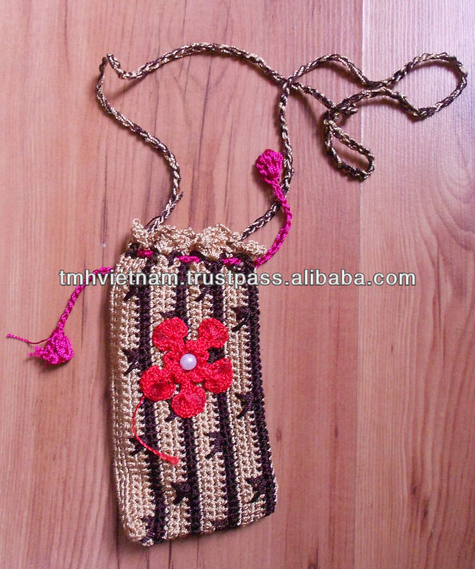 Cotton Yarn Handmade Crocheted phone Pocket bags