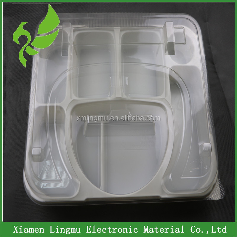 China customized disposable blister PET clear plastic food tray with anti-fog lids.