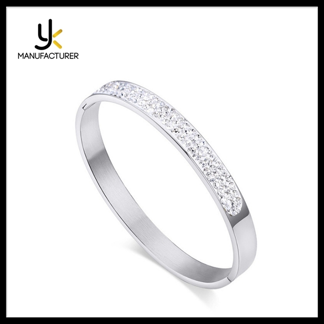 Womens Stylish Style Titanium Steel White Zircon Crystal Rhinestone Bangle Bracelet Wholesale