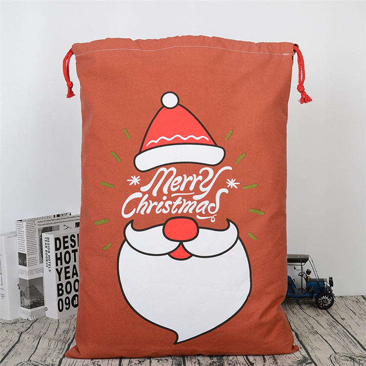 Wholesale Personalized Canvas Burlap Santa Claus Christmas Series Gift Drawstring Bag