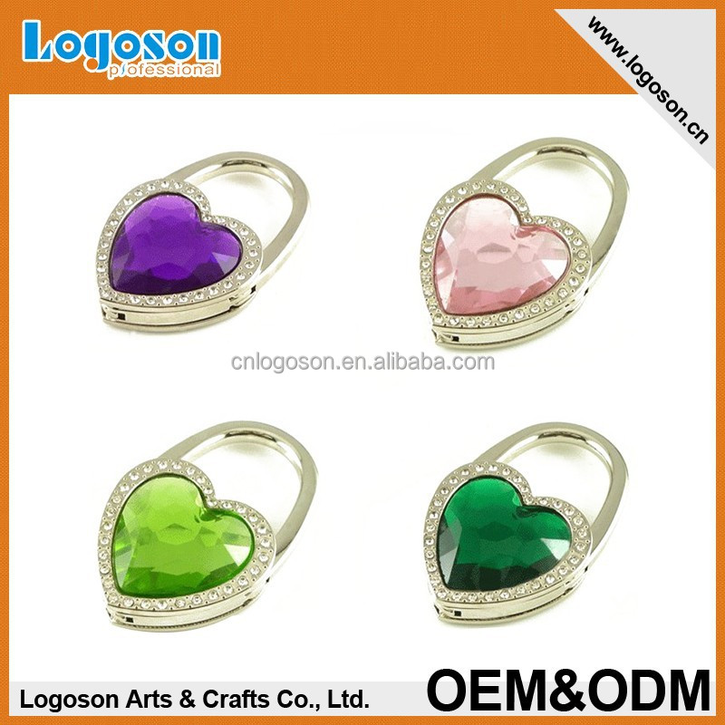 LJ-05 Heart shape metal foldable rhinestone bag hook