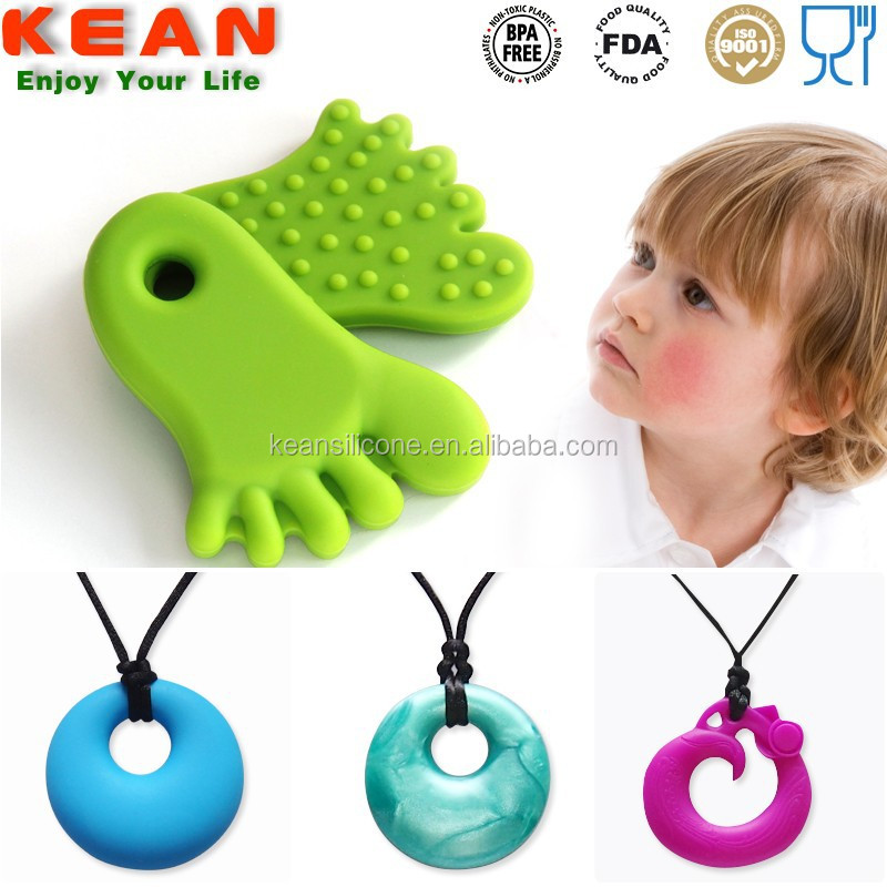 Baby chewing necklace beads jewelry large silicone teething pendant