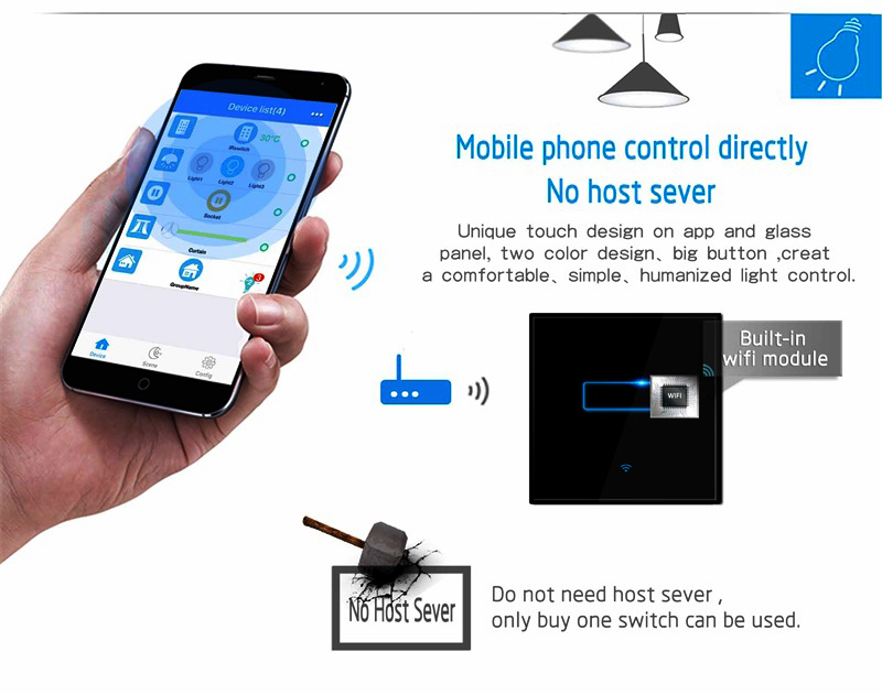 NEW Factory Price electrical wall switch 220v timer on off WiFi Touch light switch oem smart home switch and socket