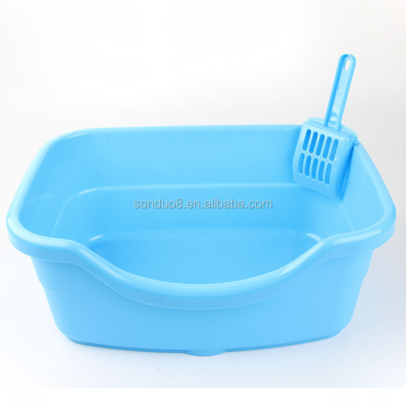 Customized colors,durable open cat litter tray,heavy duty plastic cat litter box with scooper