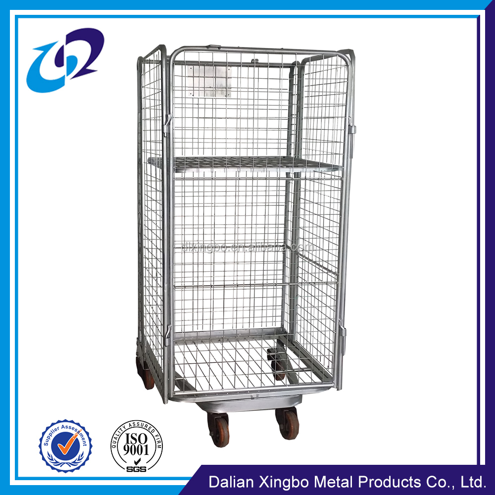 Welded zinc plated hand push folding logistic trolley cart