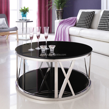 Stainless steel round centre coffee table for living room furniture design