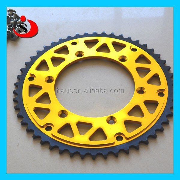 Racing motorcycle Aluminum transmision parts golden chain and sprockets