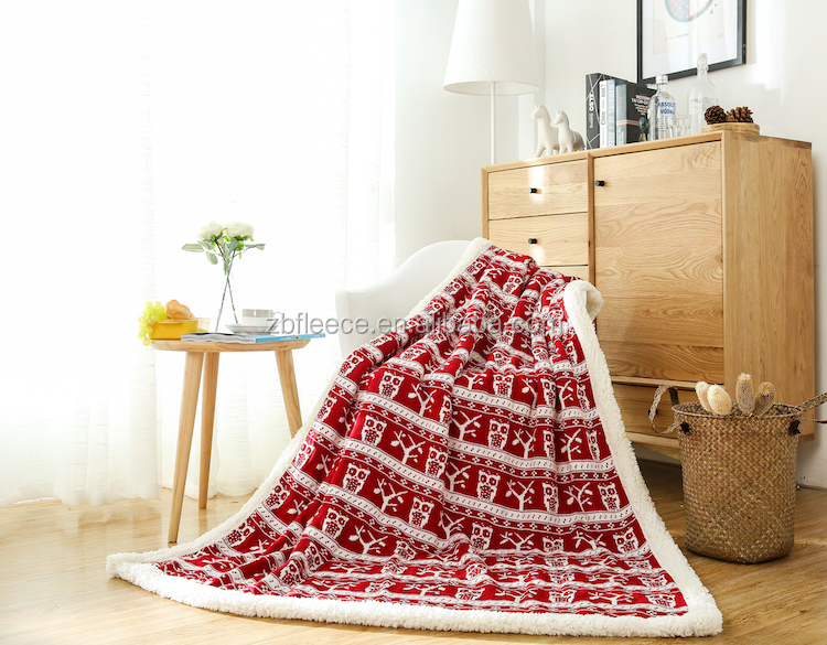 chunky knit throw blanket acrylic/cotton fabric with sherpa fleece on the back