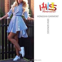 Latest fashion names of ladies dresses for 80s blue printed stripe shirt skate dress HSd7063