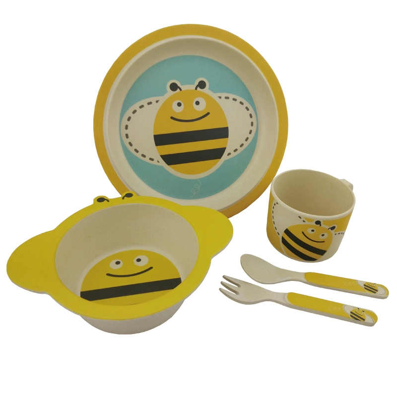 Monkey bamboo fibre biodegradable and eco friendly 5 piece children dinner set