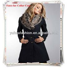 Ladies Fashion Faux-fur Collar Coat