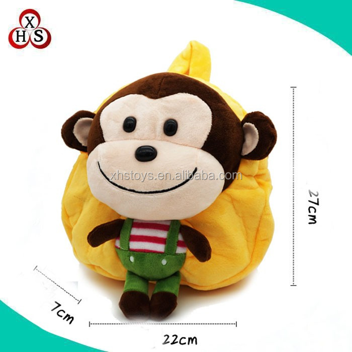 custom pluah monkey cartoon kids backpack/monkey bag for children