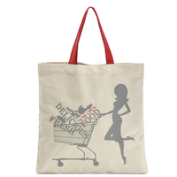 Wholesale fashion recycled promotional custom printed natural small tote cotton canvas bag