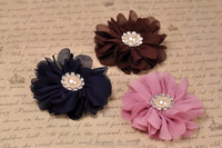 Scallop Ruffuled Ballerina Chiffon Petal Flowers with Bling Pearl Button Baby Headbands flower Infant Headbands