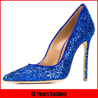 Best selling high quality italian new design shiny royal blue high heel ladies pump wholesale glitter shoes