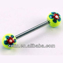 plastic tongue rings barbell piercing jewelry with flower print