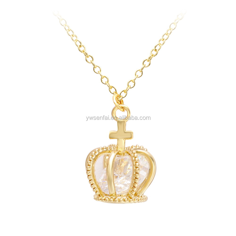 Gold Plating Luxurious Princess Crown Necklace with Diamond Crystal inside