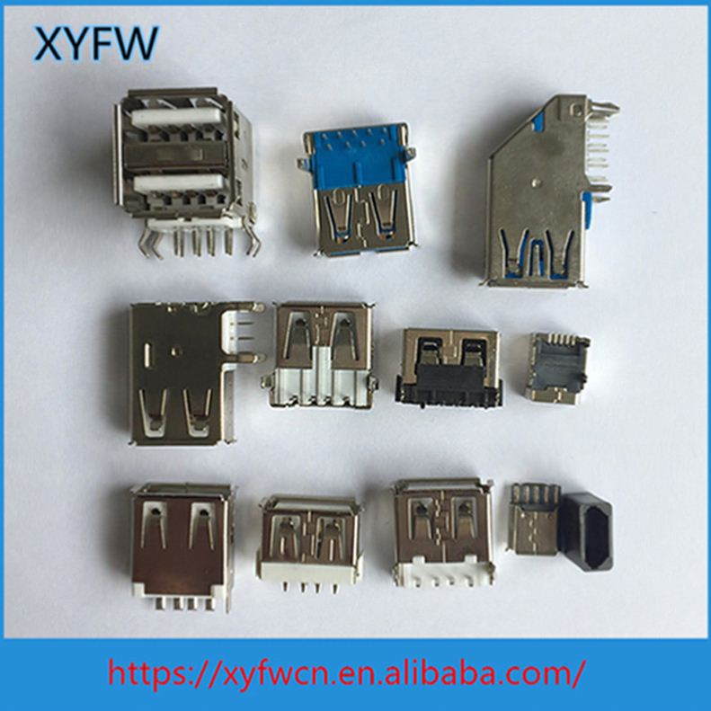 XYFW 5Pin Vertical Four Pegs Mini Usb Type Female Connector
