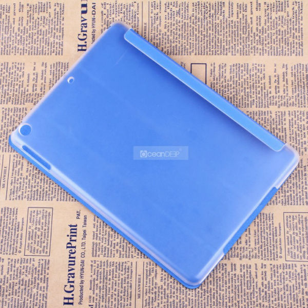 Transparent PC frosted hard cover with pu leather covered smart cover for apple iapd air laptop tablet case made in China