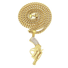 HipHop Iced Out Men's Stainless Steel Gold Plated Color Filled Diamond Gun <strong>Pendant</strong>